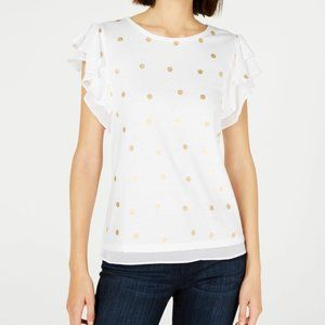 NWT Maison Jules White Top with Gold Dots